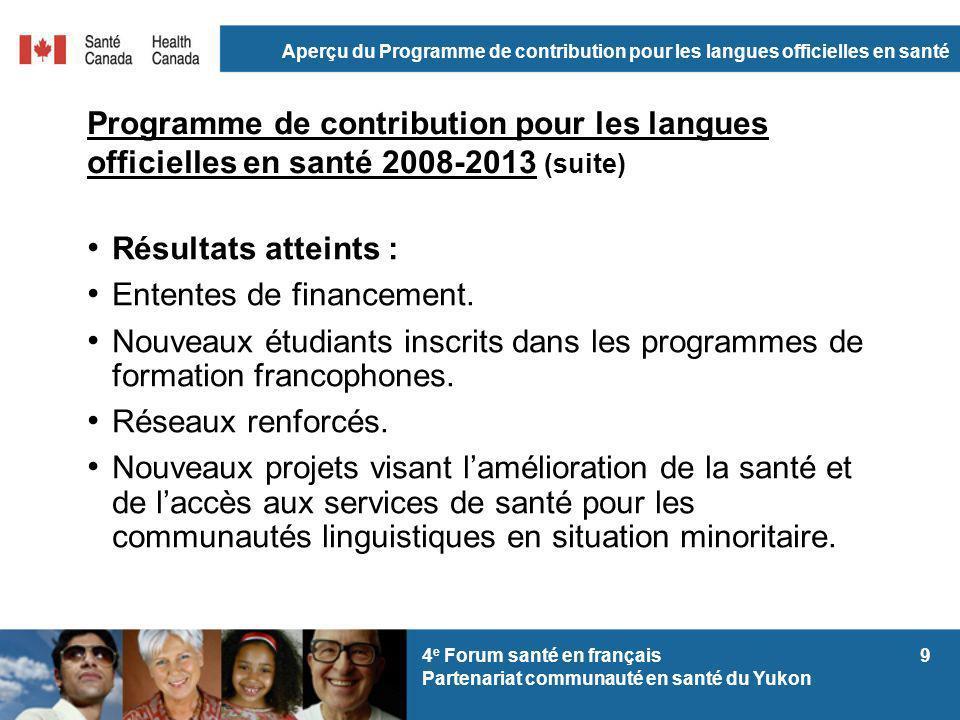 Aperçu du Programme de contribution pour les langues officielles en santé 94 e Forum santé en français Partenariat communauté en santé du Yukon Progra