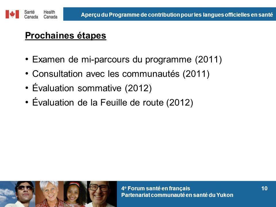 Aperçu du Programme de contribution pour les langues officielles en santé 104 e Forum santé en français Partenariat communauté en santé du Yukon Proch
