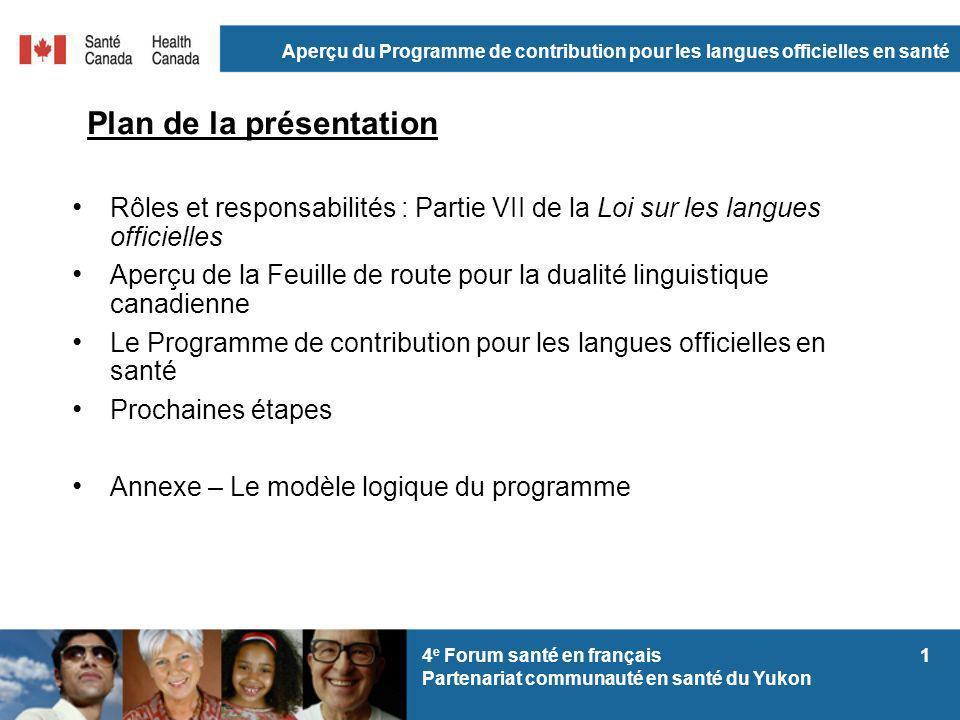 Aperçu du Programme de contribution pour les langues officielles en santé 14 e Forum santé en français Partenariat communauté en santé du Yukon Plan d