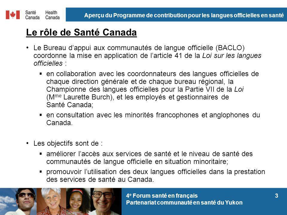 Aperçu du Programme de contribution pour les langues officielles en santé 34 e Forum santé en français Partenariat communauté en santé du Yukon Le rôl