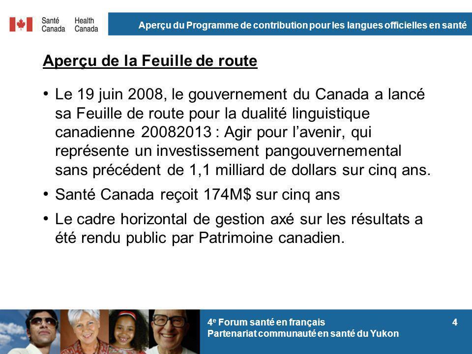 Aperçu du Programme de contribution pour les langues officielles en santé 44 e Forum santé en français Partenariat communauté en santé du Yukon Aperçu