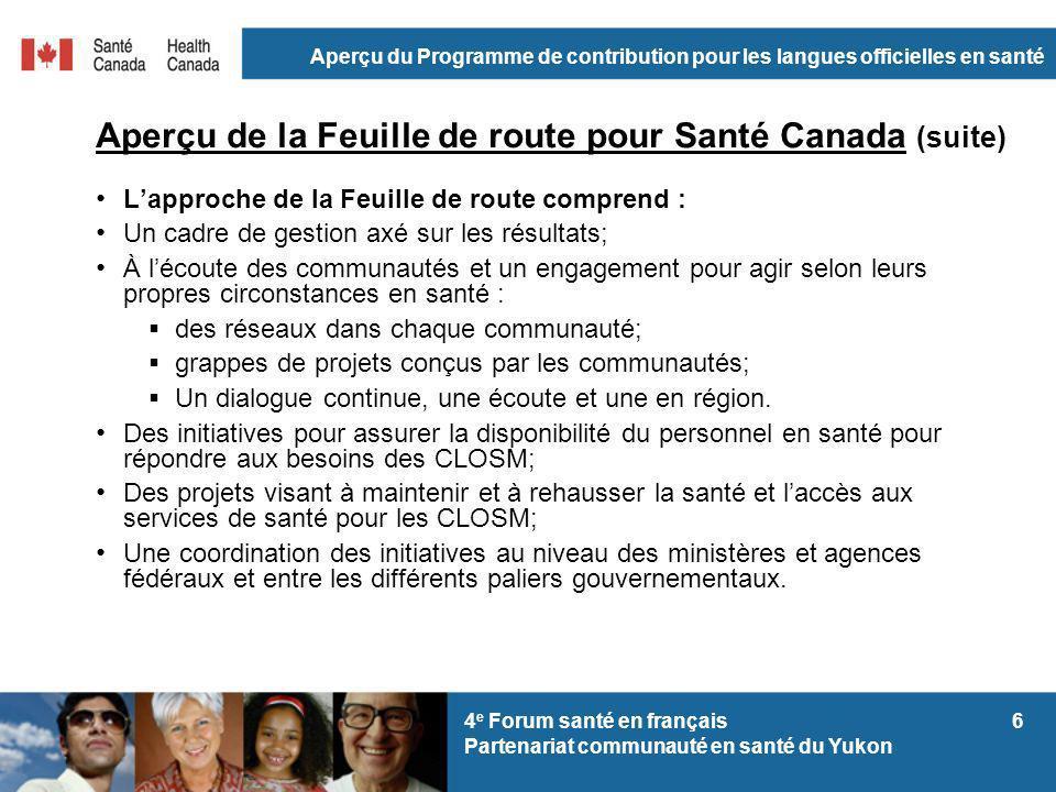 Aperçu du Programme de contribution pour les langues officielles en santé 64 e Forum santé en français Partenariat communauté en santé du Yukon Aperçu