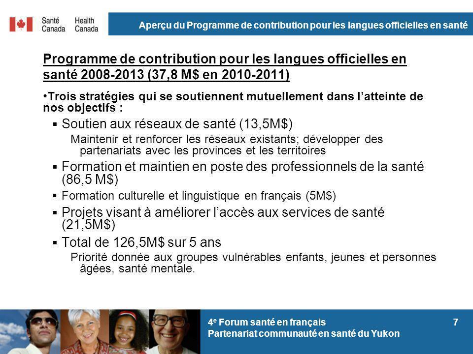 Aperçu du Programme de contribution pour les langues officielles en santé 74 e Forum santé en français Partenariat communauté en santé du Yukon Progra
