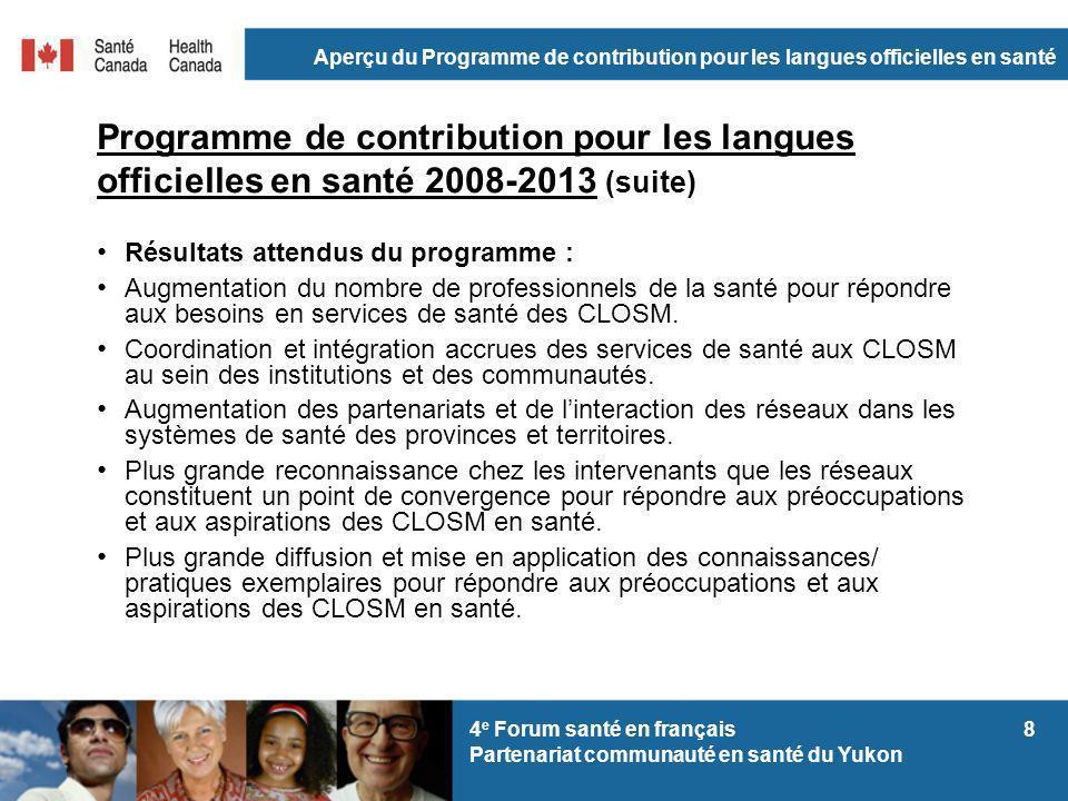 Aperçu du Programme de contribution pour les langues officielles en santé 94 e Forum santé en français Partenariat communauté en santé du Yukon Programme de contribution pour les langues officielles en santé 2008-2013 (suite) Résultats atteints : Ententes de financement.