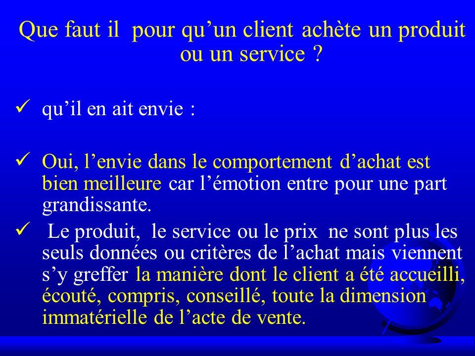 Que faut il pour quun client achète un produit ou un service ? quil en ait envie : Oui, lenvie dans le comportement dachat est bien meilleure car lémo