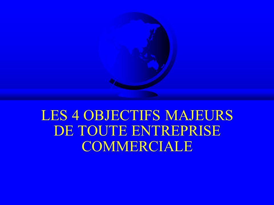 LES 4 OBJECTIFS MAJEURS DE TOUTE ENTREPRISE COMMERCIALE