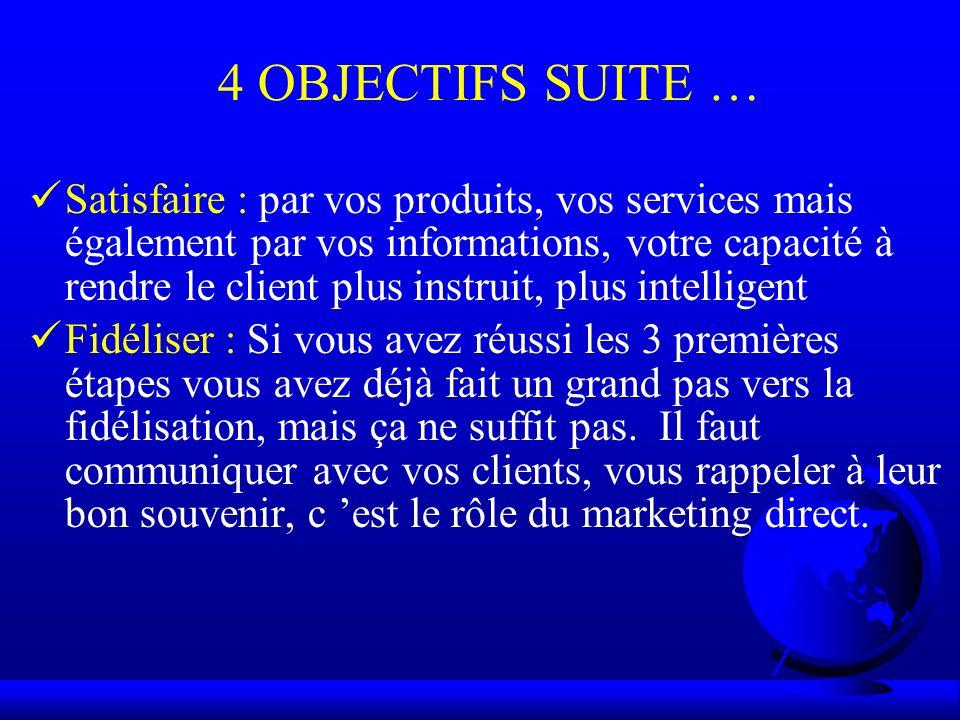 4 OBJECTIFS SUITE … Satisfaire : par vos produits, vos services mais également par vos informations, votre capacité à rendre le client plus instruit,