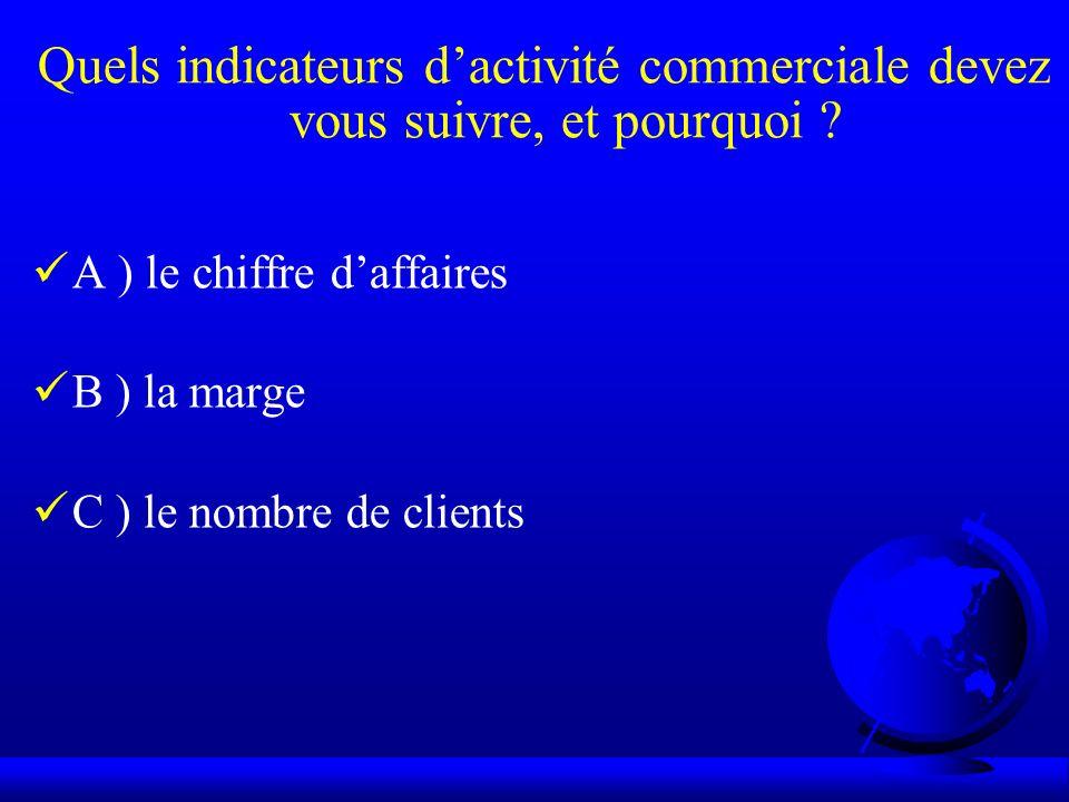 Quels indicateurs dactivité commerciale devez vous suivre, et pourquoi ? A ) le chiffre daffaires B ) la marge C ) le nombre de clients