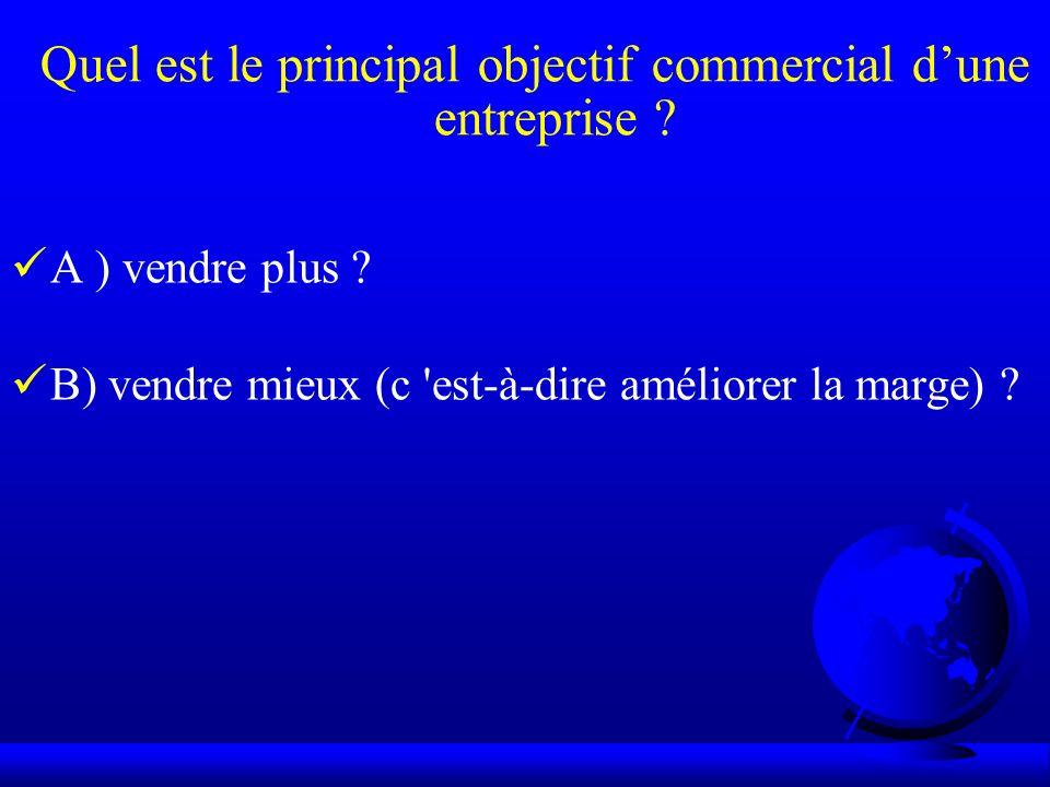 Quel est le principal objectif commercial dune entreprise ? A ) vendre plus ? B) vendre mieux (c 'est-à-dire améliorer la marge) ?
