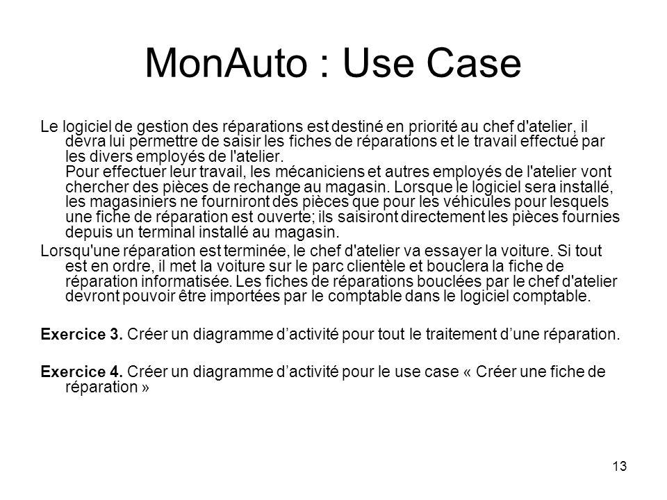 13 MonAuto : Use Case Le logiciel de gestion des réparations est destiné en priorité au chef d'atelier, il devra lui permettre de saisir les fiches de