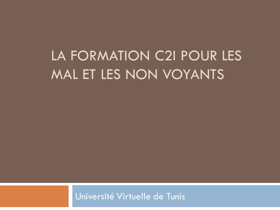 LA FORMATION C2I POUR LES MAL ET LES NON VOYANTS Université Virtuelle de Tunis