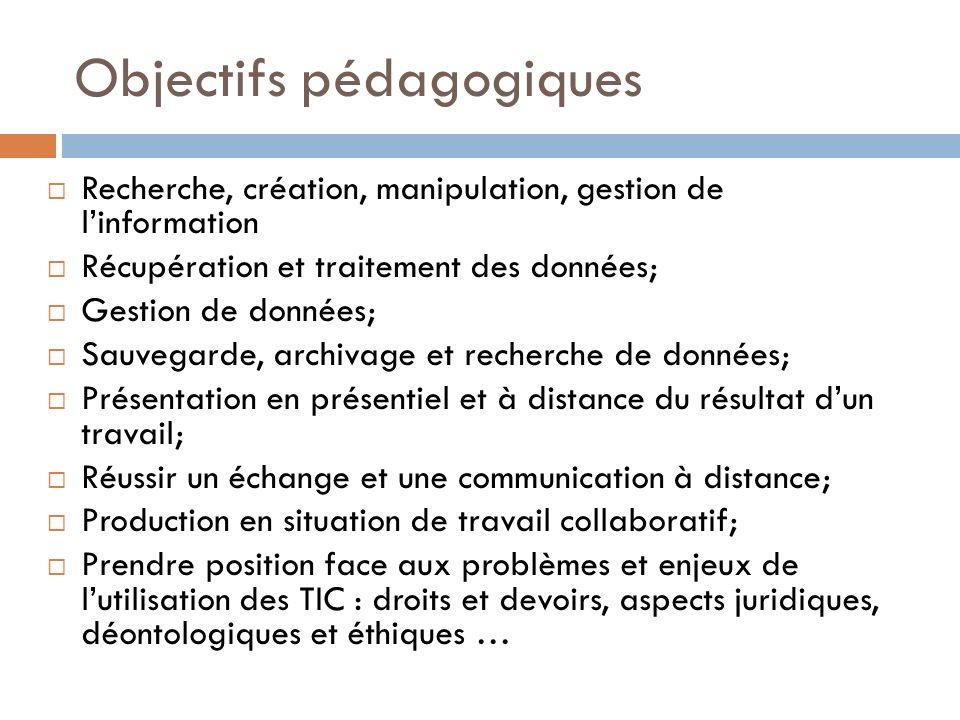 Objectifs pédagogiques Recherche, création, manipulation, gestion de linformation Récupération et traitement des données; Gestion de données; Sauvegar