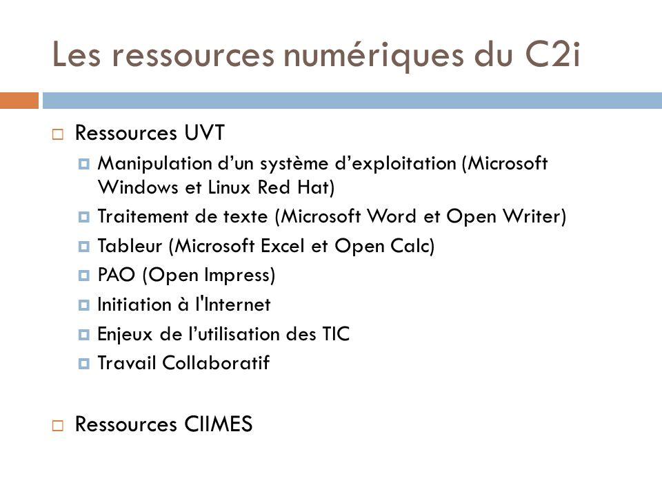 Les ressources numériques du C2i Ressources UVT Manipulation dun système dexploitation (Microsoft Windows et Linux Red Hat) Traitement de texte (Micro