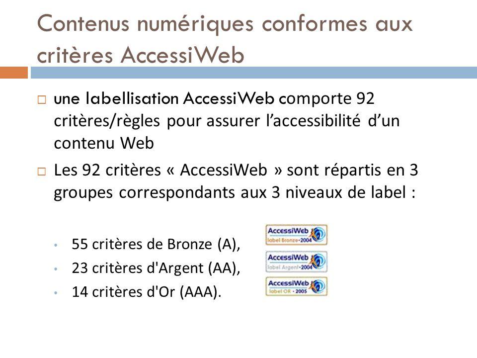 Contenus numériques conformes aux critères AccessiWeb une labellisation AccessiWeb c omporte 92 critères/règles pour assurer laccessibilité dun conten