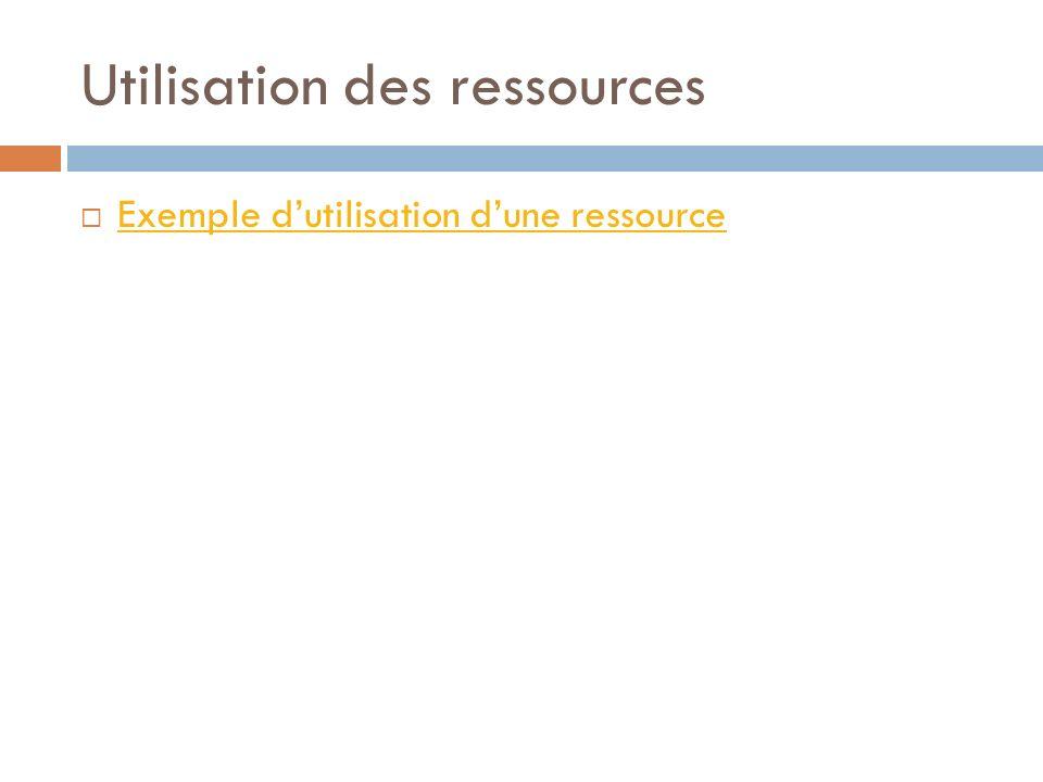 Utilisation des ressources Exemple dutilisation dune ressource