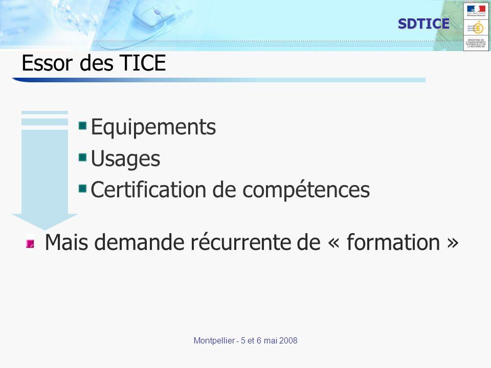 11 SDTICE Montpellier - 5 et 6 mai 2008 Essor des TICE Equipements Usages Certification de compétences Mais demande récurrente de « formation »