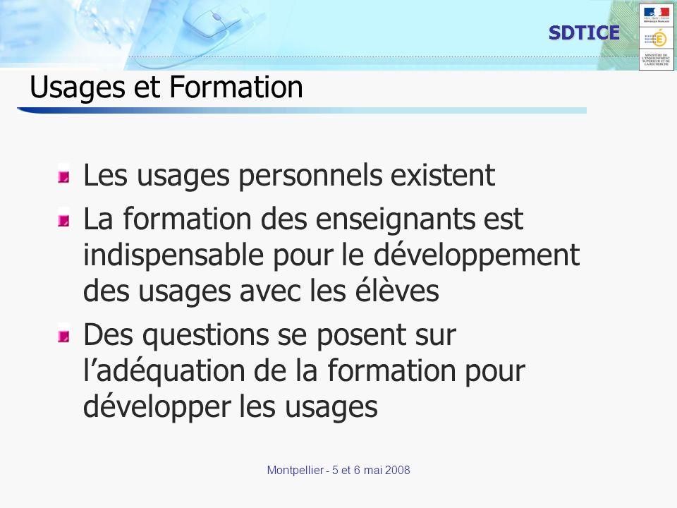 13 SDTICE Montpellier - 5 et 6 mai 2008 Usages et Formation Les usages personnels existent La formation des enseignants est indispensable pour le déve