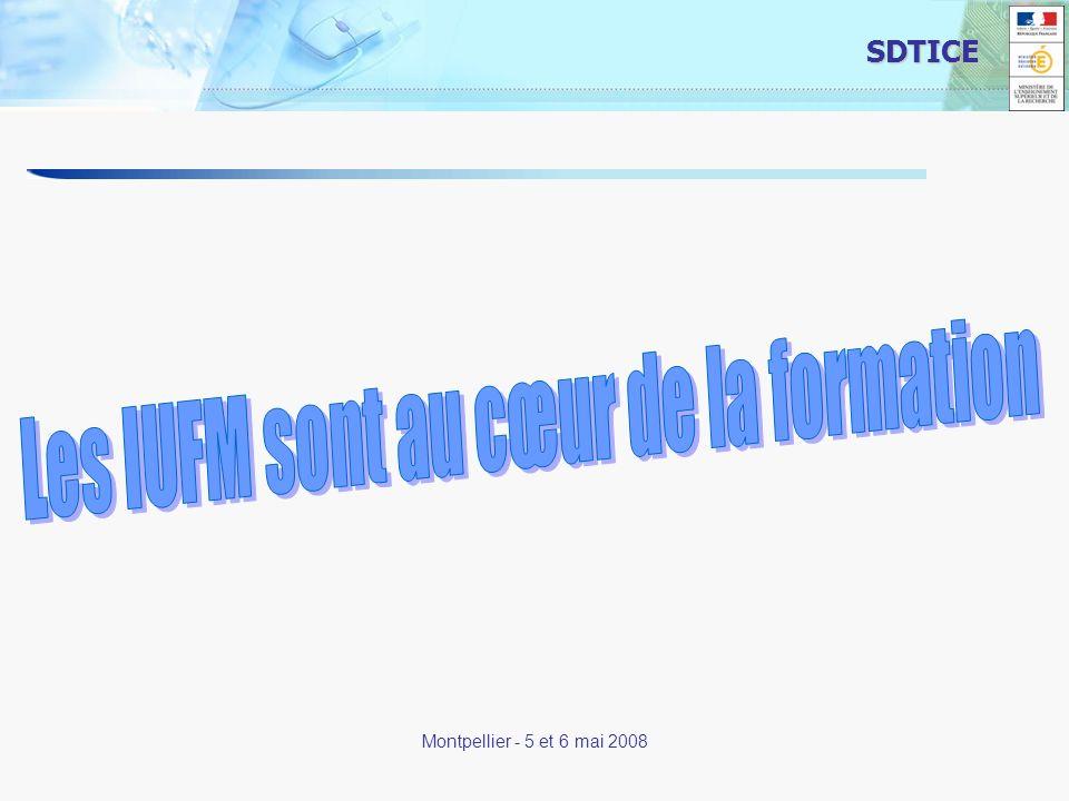 17 SDTICE Montpellier - 5 et 6 mai 2008 Les IUFM sont au cœur de la formation