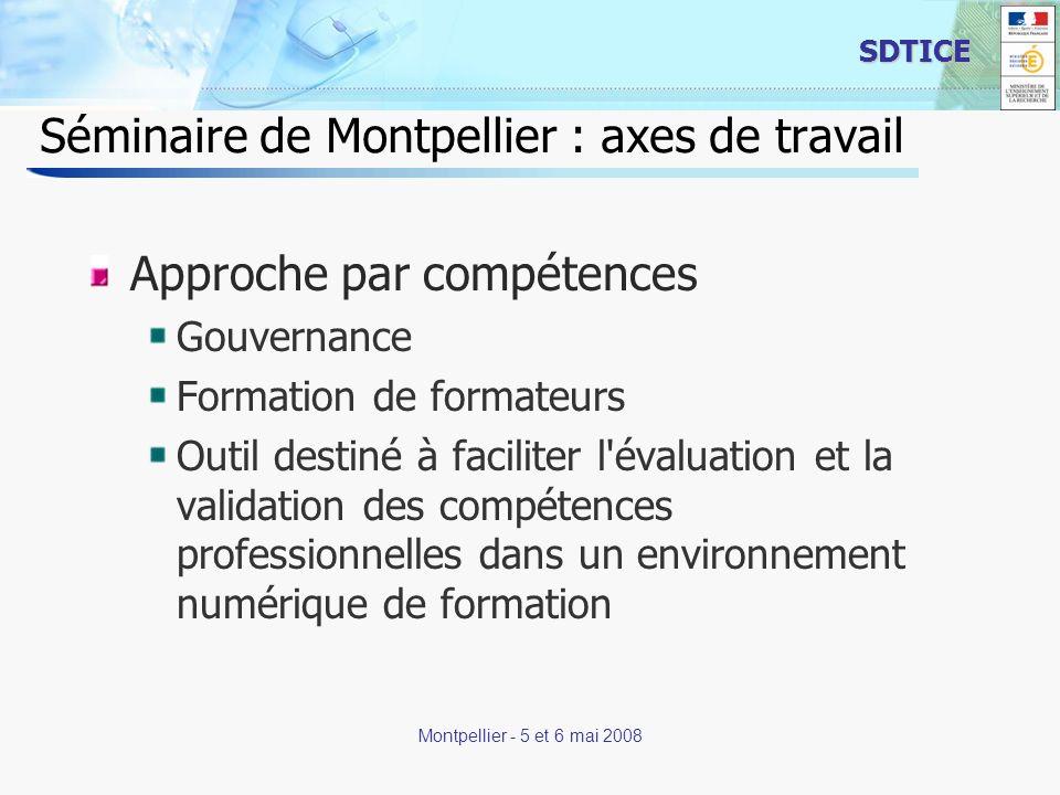 20 SDTICE Montpellier - 5 et 6 mai 2008 Séminaire de Montpellier : axes de travail Approche par compétences Gouvernance Formation de formateurs Outil