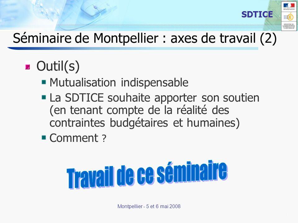 21 SDTICE Montpellier - 5 et 6 mai 2008 Séminaire de Montpellier : axes de travail (2) Outil(s) Mutualisation indispensable La SDTICE souhaite apporte