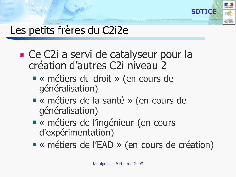 3 SDTICE Montpellier - 5 et 6 mai 2008 Les petits frères du C2i2e Ce C2i a servi de catalyseur pour la création dautres C2i niveau 2 « métiers du droi