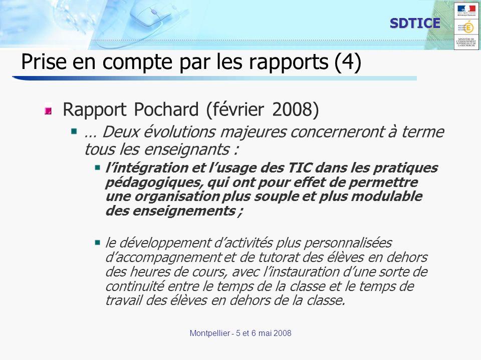 10 SDTICE Montpellier - 5 et 6 mai 2008 Prise en compte par les rapports (5) rapport annuel des Inspections générales IGEN – IGAEN Sans doute, avec la généralisation des certificats informatique et Internet de premier et de second niveau (C2i1 et C2i2), les nouveaux enseignants ont- ils dorénavant les compétences requises pour une utilisation large et efficace des TICE.