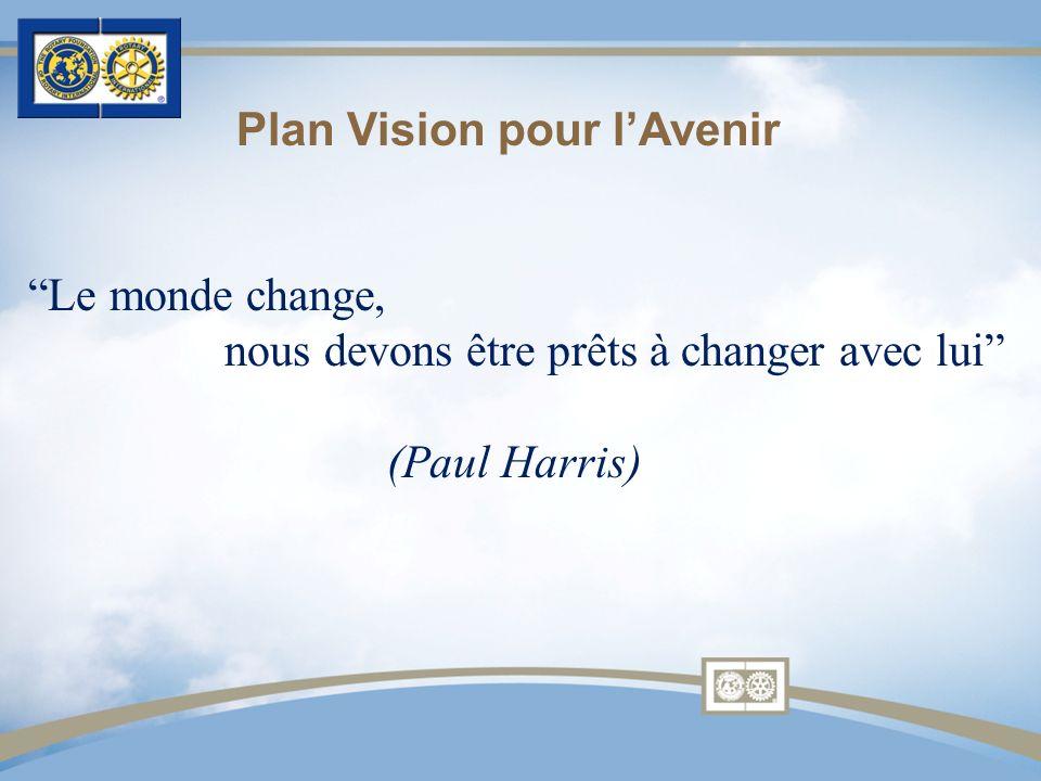 Le monde change, nous devons être prêts à changer avec lui (Paul Harris) Plan Vision pour lAvenir