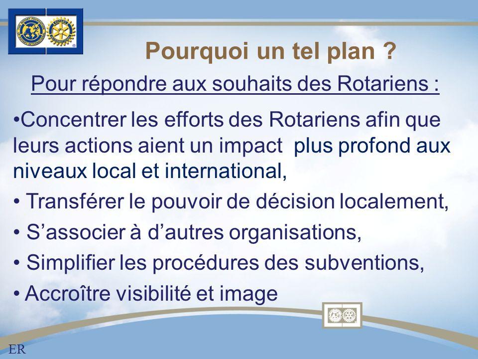 Pourquoi un tel plan ? Concentrer les efforts des Rotariens afin que leurs actions aient un impact plus profond aux niveaux local et international, Tr