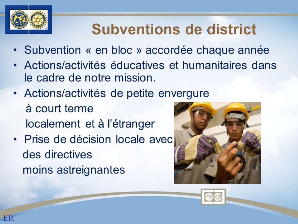 Subventions de district Subvention « en bloc » accordée chaque année Actions/activités éducatives et humanitaires dans le cadre de notre mission. Acti