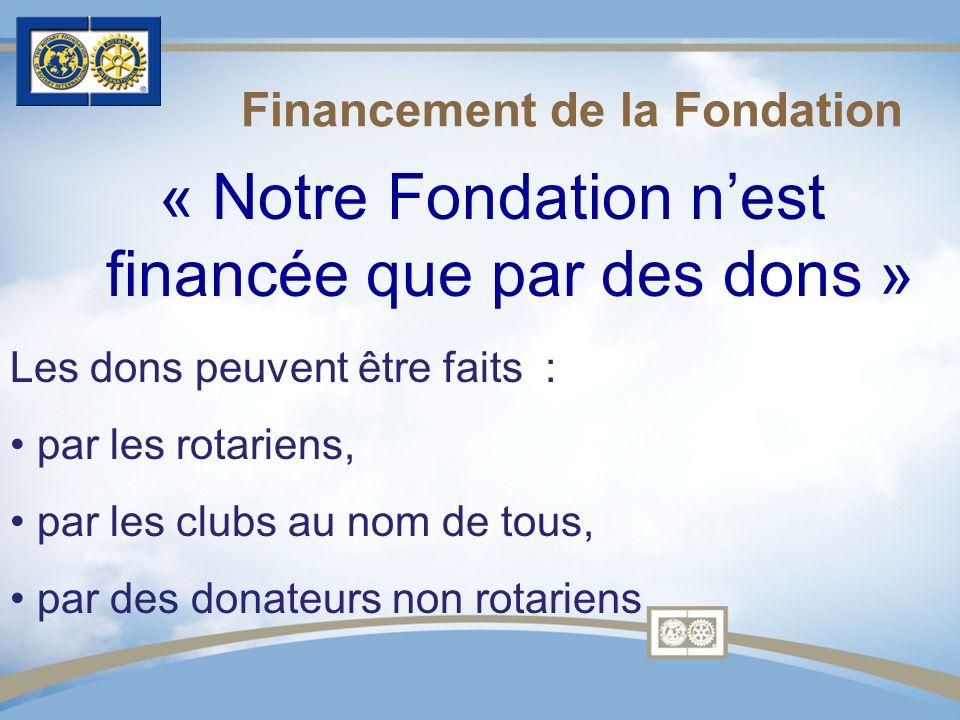 « Notre Fondation nest financée que par des dons » Financement de la Fondation Les dons peuvent être faits : par les rotariens, par les clubs au nom de tous, par des donateurs non rotariens