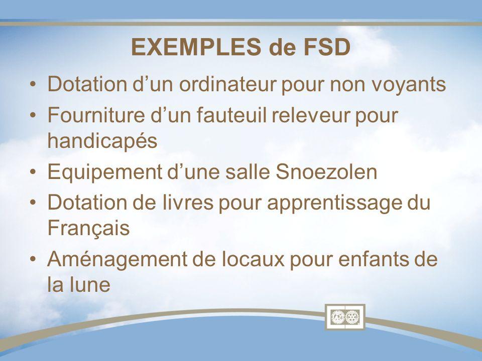 EXEMPLES de FSD Dotation dun ordinateur pour non voyants Fourniture dun fauteuil releveur pour handicapés Equipement dune salle Snoezolen Dotation de