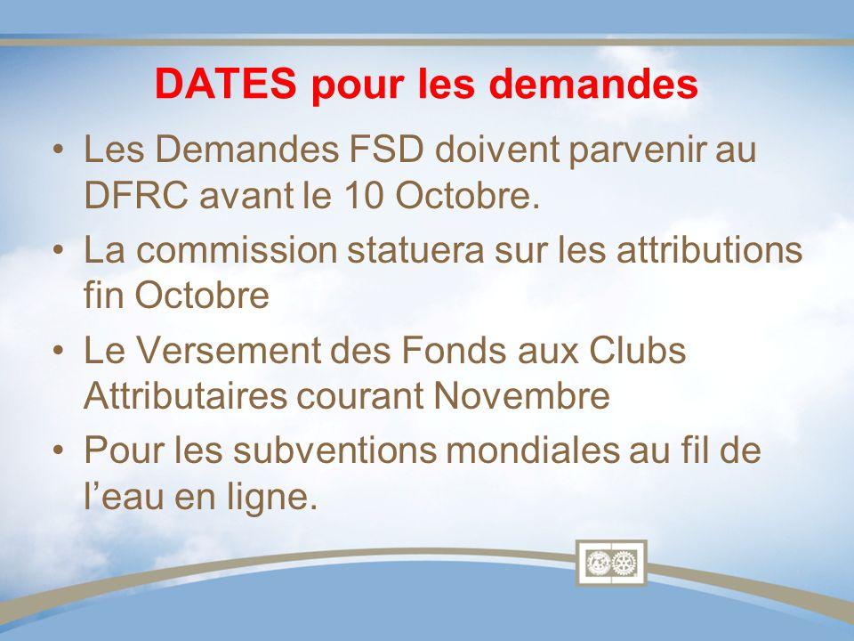 DATES pour les demandes Les Demandes FSD doivent parvenir au DFRC avant le 10 Octobre. La commission statuera sur les attributions fin Octobre Le Vers