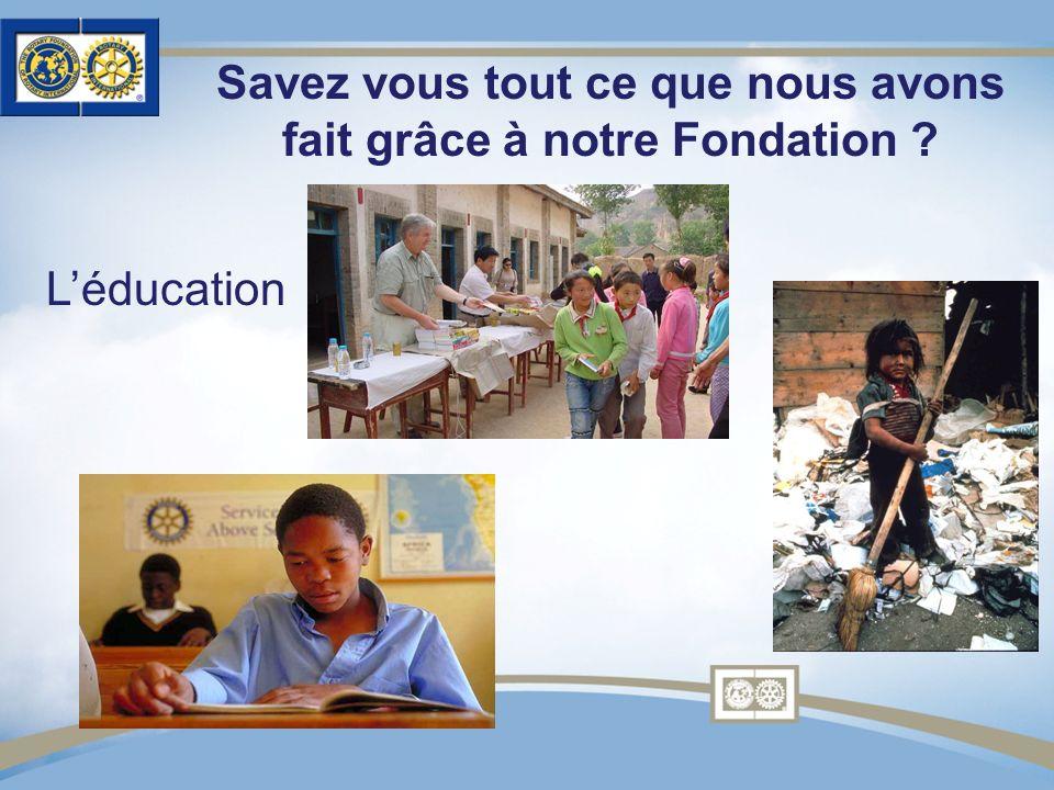 Savez vous tout ce que nous avons fait grâce à notre Fondation ? Léducation