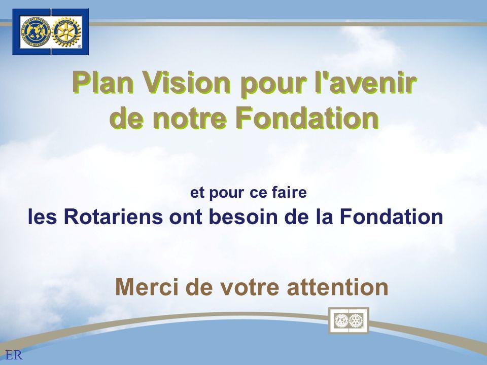 Merci de votre attention Plan Vision pour l avenir de notre Fondation ER et pour ce faire les Rotariens ont besoin de la Fondation