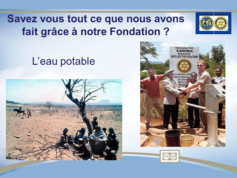 Savez vous tout ce que nous avons fait grâce à notre Fondation ? Leau potable