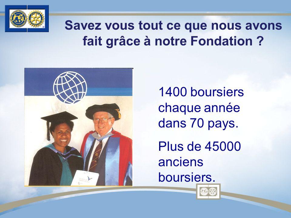 1400 boursiers chaque année dans 70 pays. Plus de 45000 anciens boursiers. Savez vous tout ce que nous avons fait grâce à notre Fondation ?