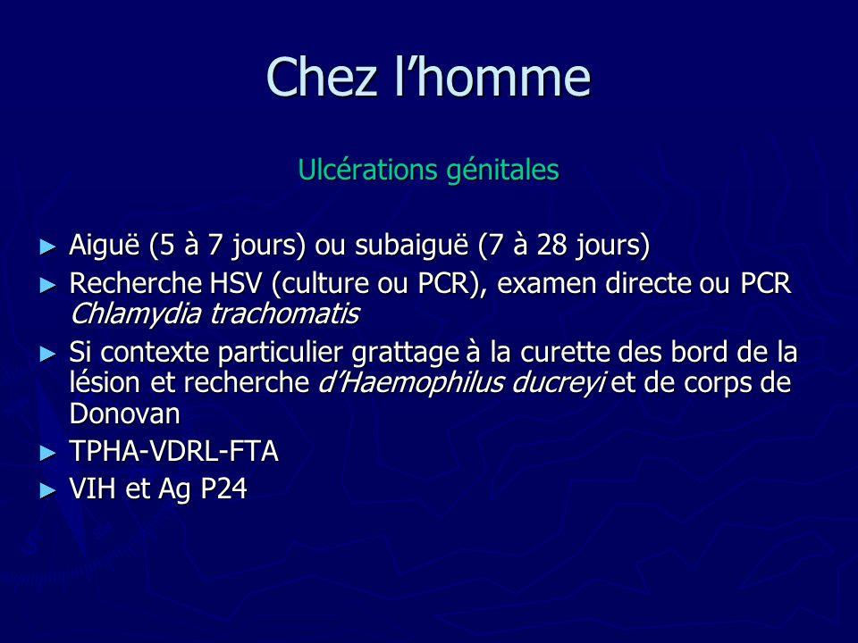 Chez lhomme Ulcérations génitales Aiguë (5 à 7 jours) ou subaiguë (7 à 28 jours) Aiguë (5 à 7 jours) ou subaiguë (7 à 28 jours) Recherche HSV (culture