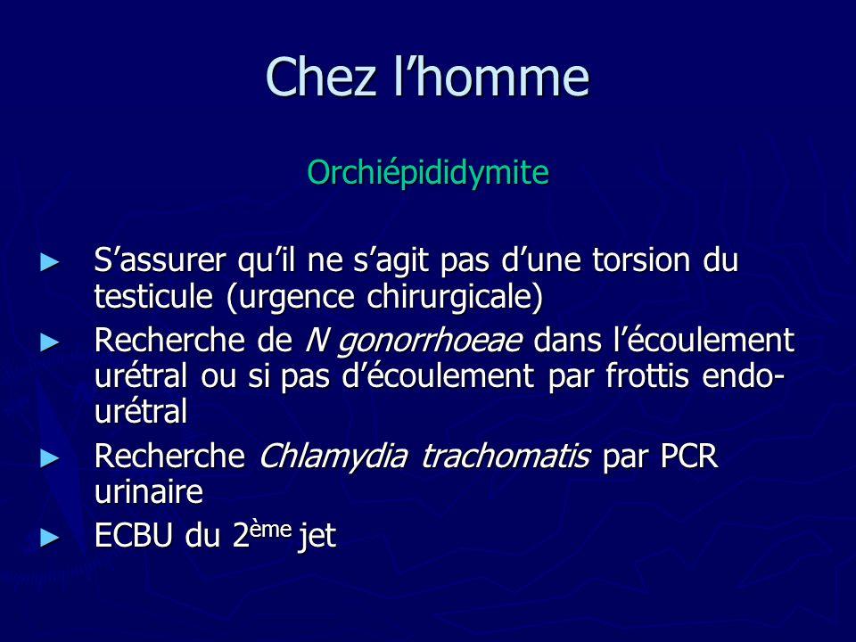 Chez lhomme Orchiépididymite Sassurer quil ne sagit pas dune torsion du testicule (urgence chirurgicale) Sassurer quil ne sagit pas dune torsion du te