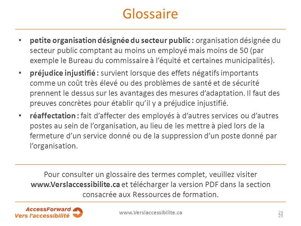 Glossaire petite organisation désignée du secteur public : organisation désignée du secteur public comptant au moins un employé mais moins de 50 (par exemple le Bureau du commissaire à léquité et certaines municipalités).
