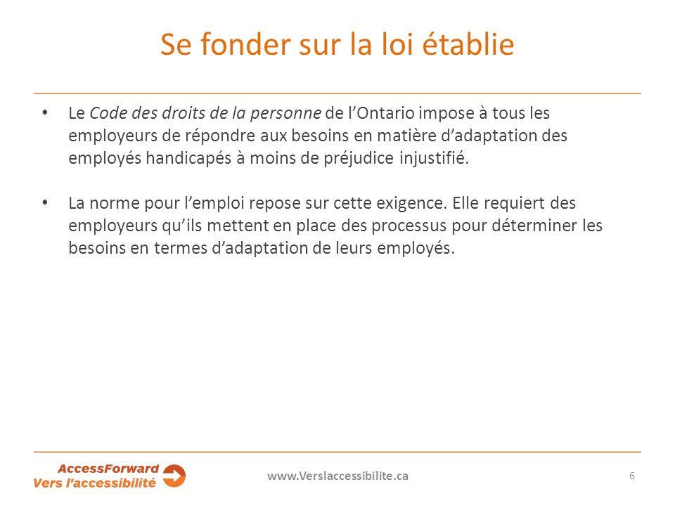 Se fonder sur la loi établie Le Code des droits de la personne de lOntario impose à tous les employeurs de répondre aux besoins en matière dadaptation des employés handicapés à moins de préjudice injustifié.
