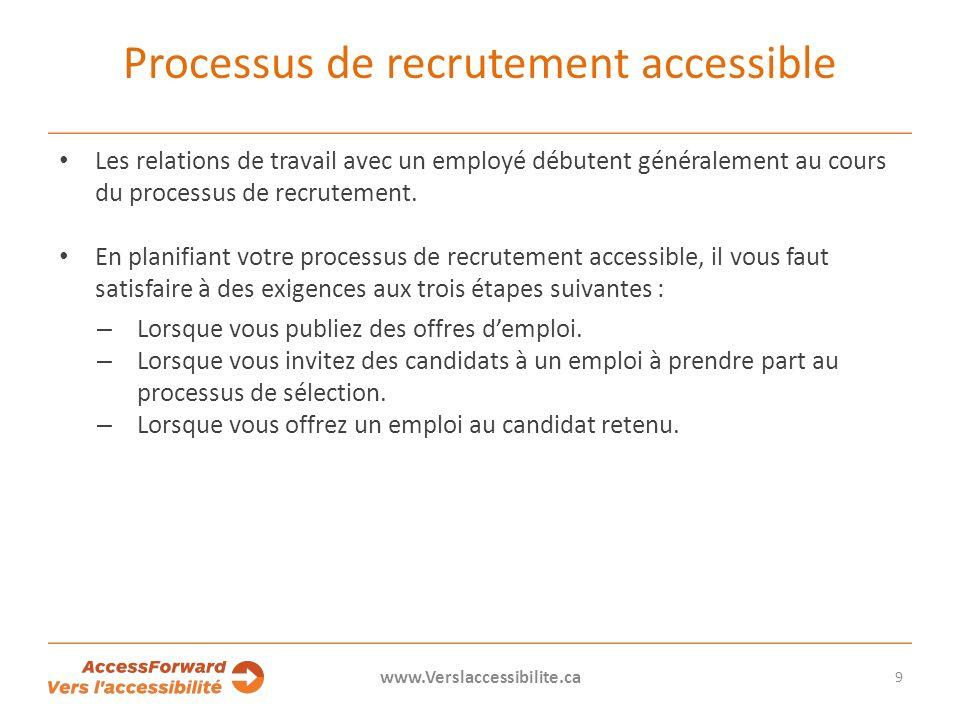 Processus de recrutement accessible Les relations de travail avec un employé débutent généralement au cours du processus de recrutement.