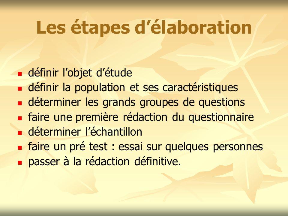Les étapes délaboration définir lobjet détude définir la population et ses caractéristiques déterminer les grands groupes de questions faire une premi