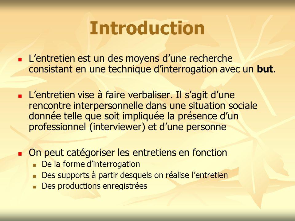 Introduction Lentretien est un des moyens dune recherche consistant en une technique dinterrogation avec un but. Lentretien vise à faire verbaliser. I