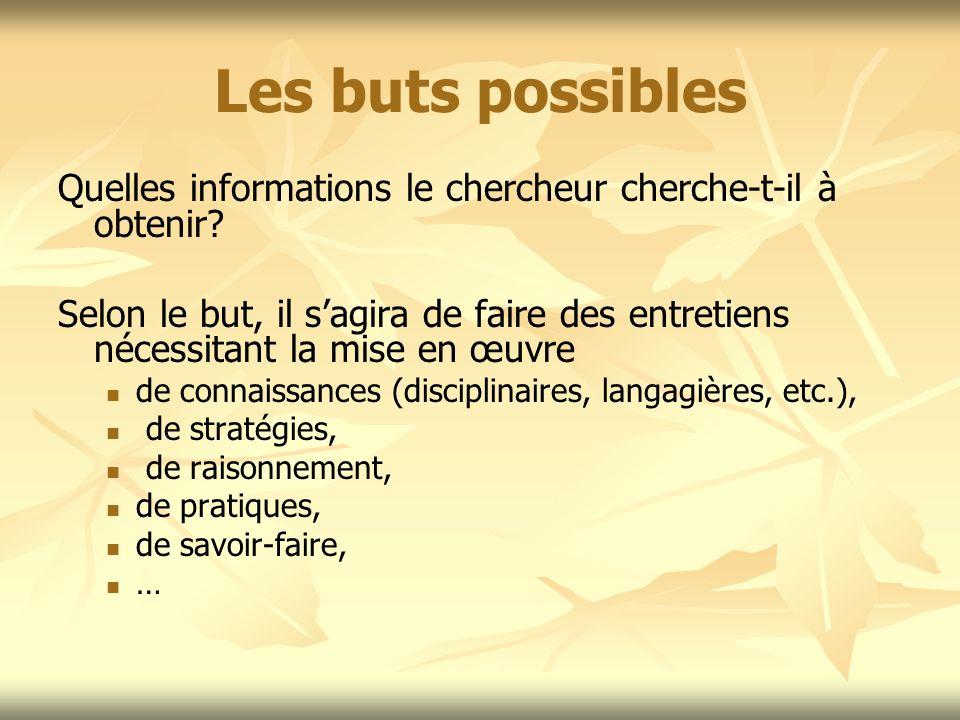 Les buts possibles Quelles informations le chercheur cherche-t-il à obtenir? Selon le but, il sagira de faire des entretiens nécessitant la mise en œu