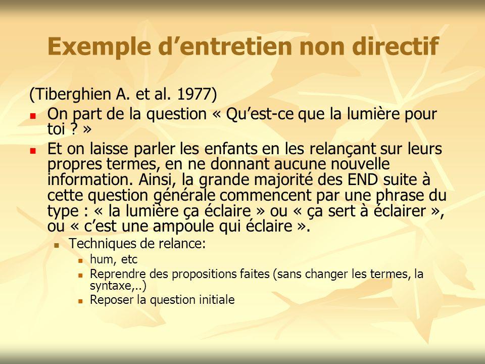 Exemple dentretien non directif (Tiberghien A. et al. 1977) On part de la question « Quest-ce que la lumière pour toi ? » Et on laisse parler les enfa