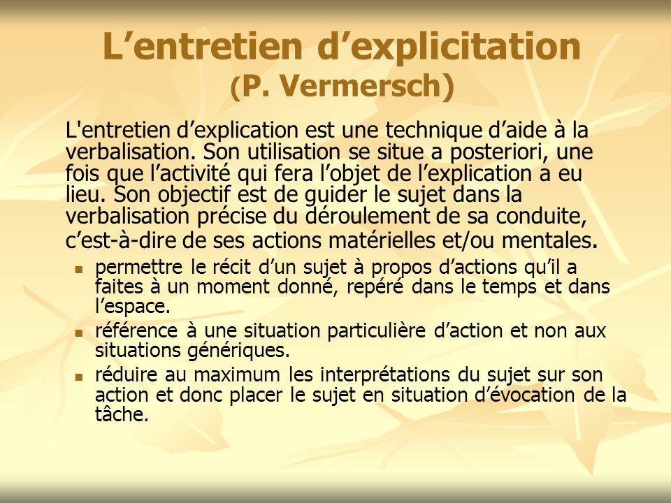 Lentretien dexplicitation ( P. Vermersch) L'entretien dexplication est une technique daide à la verbalisation. Son utilisation se situe a posteriori,