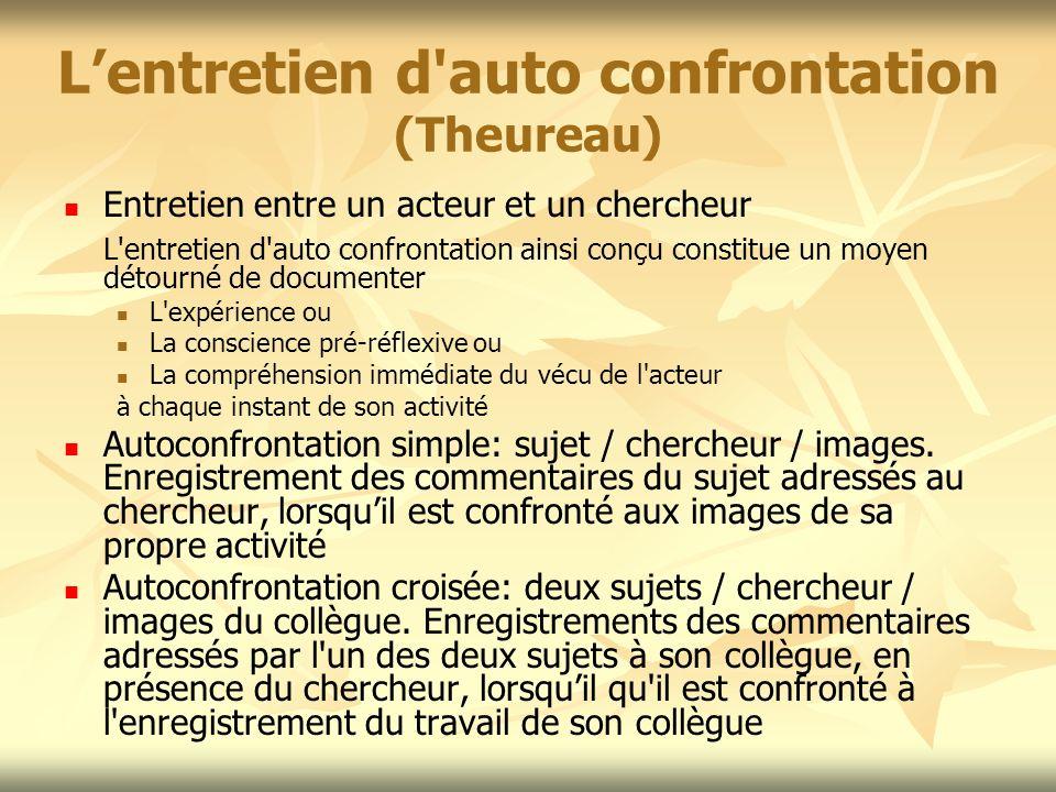 Lentretien d'auto confrontation (Theureau) Entretien entre un acteur et un chercheur L'entretien d'auto confrontation ainsi conçu constitue un moyen d