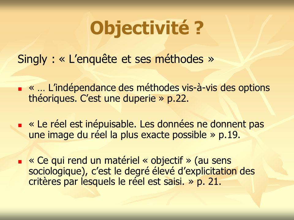 Objectivité ? Singly : « Lenquête et ses méthodes » « … Lindépendance des méthodes vis-à-vis des options théoriques. Cest une duperie » p.22. « Le rée