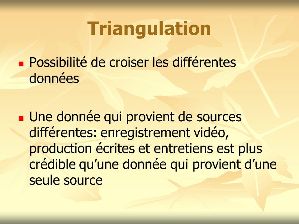 Triangulation Possibilité de croiser les différentes données Une donnée qui provient de sources différentes: enregistrement vidéo, production écrites