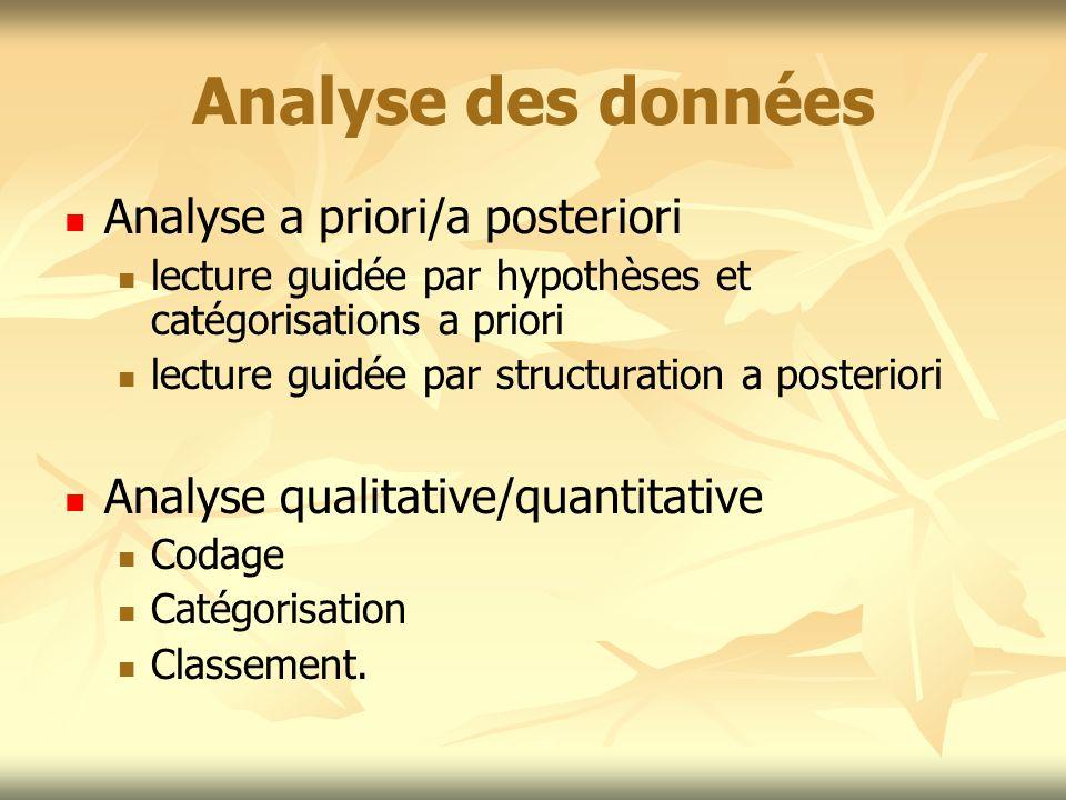 Analyse des données Analyse a priori/a posteriori lecture guidée par hypothèses et catégorisations a priori lecture guidée par structuration a posteri